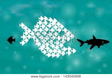 Teamwork Concept Illustration with Big Fish chasing Small fish and Fish group chasing Big fish, Think different design