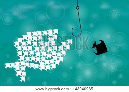 Vector image of fish and earthworm and hook. Think different concept.