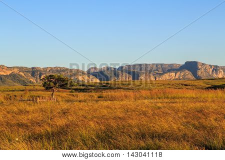 Rock Formations At Sunrise In An African Landscape