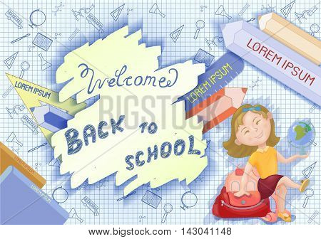 Cute cartoon schoolgirl with backpack and globe. Back to school concept banner poster. Vector illustration