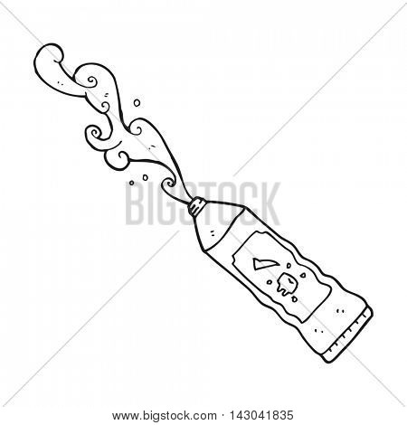 freehand drawn black and white cartoon toothpaste squirting