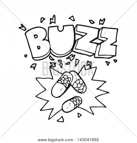 freehand drawn black and white cartoon stimulant pills
