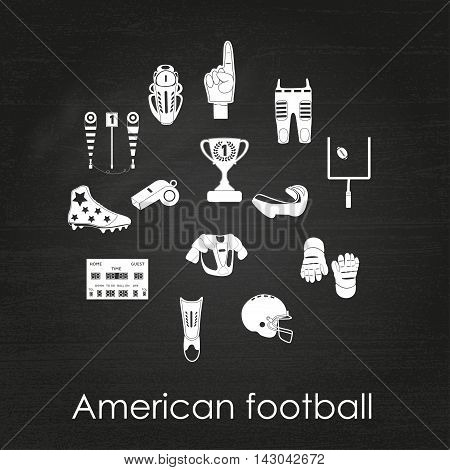 Set of sport icons, signs and symbols. American football. Vector illustration on the chalkboard background.