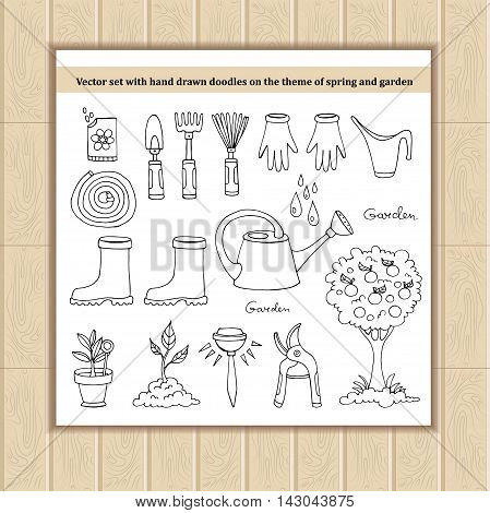 Vector set with hand drawn doodles on the theme of spring and garden. Sketches for use in design, web site, packing, textile, fabric