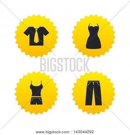Clothes icons. T-shirt with business tie and pants signs. Women dress symbol. Yellow stars labels with flat icons. Vector