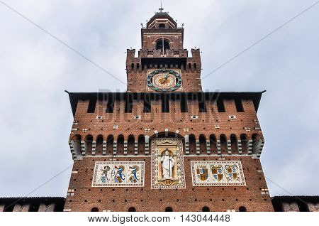 The clocktower of Sforza Castle a medieval fortress in Milan Italy