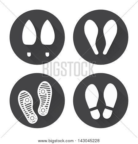 Flat footprint icons set with shadows vector
