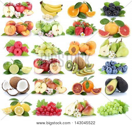 Fruits Fruit Collection Fresh Orange Apple Apples Banana Strawberry Pear Grapes Isolated On White