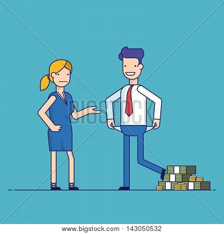 Man cheating woman. Businessman with lots of money evades payment. Financial fraud. Greedy man in trousers and shirt. False bankruptcy. Thin line vector illustration in flat style poster