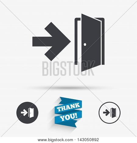 Emergency exit sign icon. Door with right arrow symbol. Fire exit. Flat icons. Buttons with icons. Thank you ribbon. Vector
