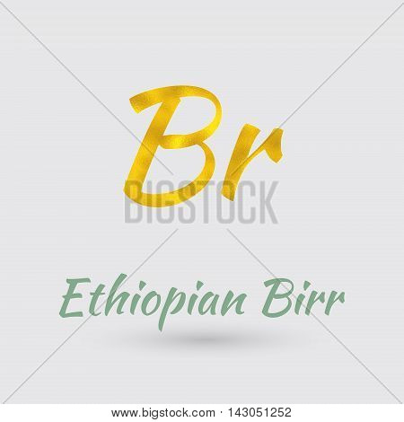 Symbol of the Ethiopia Currency with Golden Texture.Vector EPS 10