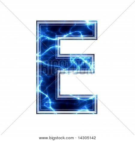 Electric 3d letter on white background - e
