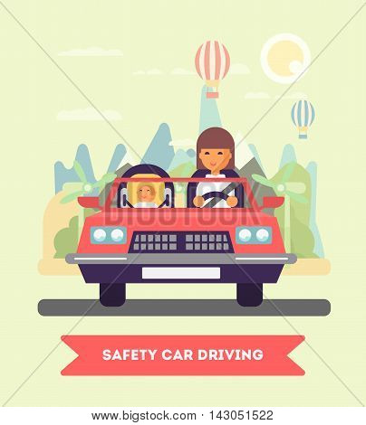 Mother and the child seating in the car vector flat design illustration. Baby on board. Safety driving. Goes to the trip. Flat design illustration. Eco lifestyle concept