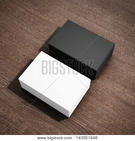 Blank two stacks of business card on wooden table. 3D illustration.