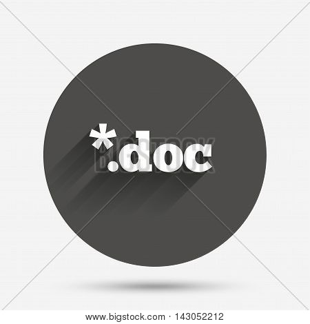 File document icon. Download doc button. Doc file extension symbol. Circle flat button with shadow. Vector