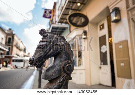 Horses Head Design In Bourbon Street In The French Quarter