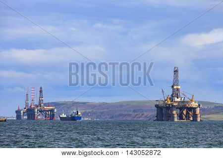 Semi Submersible Oil Rig at Cromarty Firth in Invergordon Scotland