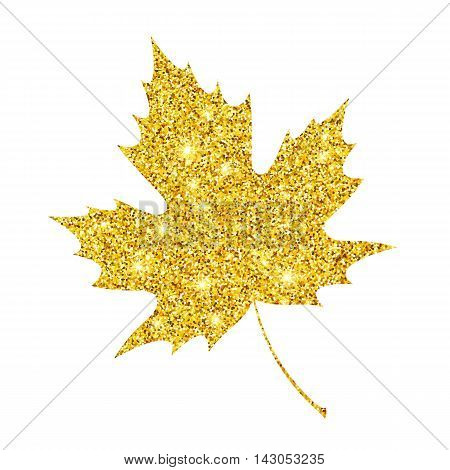 Golden glitter textured fall leaf. Autumn gold design. Vector illustration EPS10