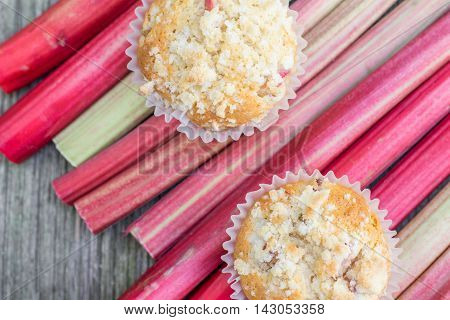 Detailed Top View On Two Rhubarb Muffins On A Rhubarb Perioles