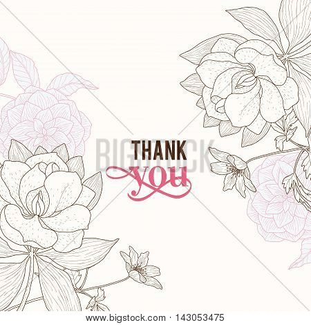 Vector Vintage Pink Brown Frame Floral Drawing Wedding Invitation Thank You Card With Stylish Flowers and Text In Classic Retro Design. Perfect for invinations, packaging, announcements, menu, scrapbooking.