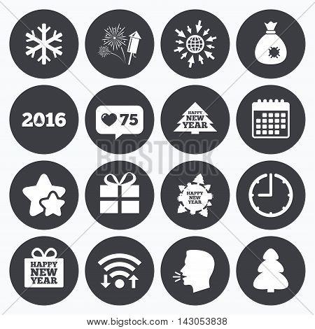 Calendar, wifi and clock symbols. Like counter, stars symbols. Christmas, new year icons. Gift box, fireworks and snowflake signs. Santa bag, salut and rocket symbols. Talking head, go to web symbols. Vector