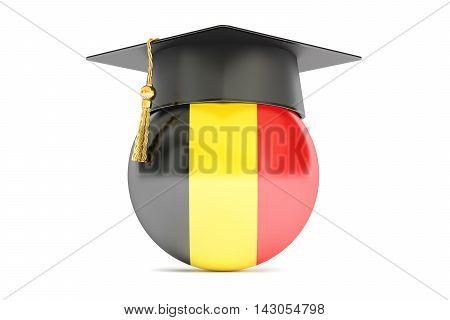 education in Belgium concept 3D rendering on white
