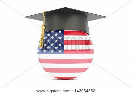 education in USA concept 3D rendering on white