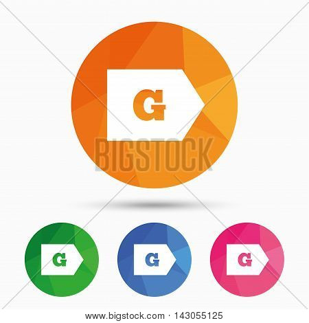 Energy efficiency class G sign icon. Energy consumption symbol. Triangular low poly button with flat icon. Vector