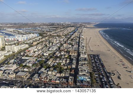 Los Angeles, California, USA - August 6, 2016:  Summer afternoon aerial view of popular Venice Beach in Southern California.