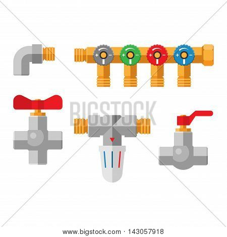 Gas or water crane flat icon vector illustration. Flat icon vector illustration of water crane isolated on white. Water crane