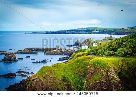 Scottish summer landscape St Abbs village Scotland UK
