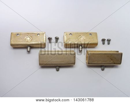 The glass door pivot hinge from sideboard. Elegant vintage textured and with gilded