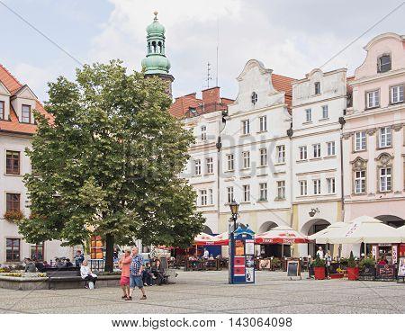 JELENIA GORA POLAND - AUGUST 17 2016: Tourists At Townhall Square in Jelenia Gora Poland