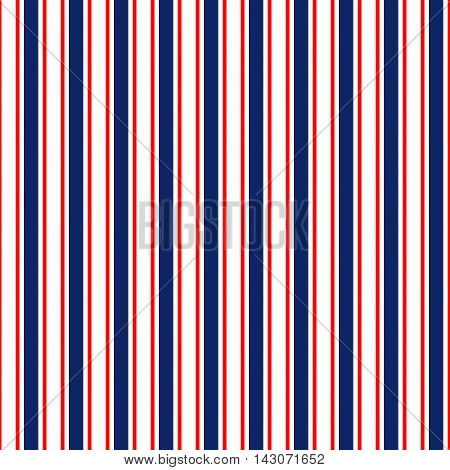 Abstract geometric simple striped seamless pattern in blue red and white, vector background