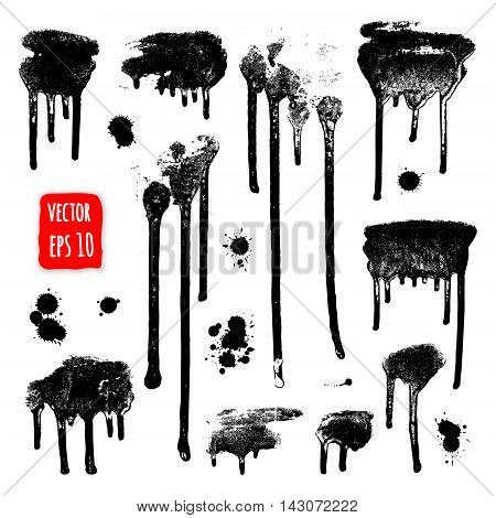 Ink drops. Grunge paint. Design element set. Vector Illustration, Isolated on white