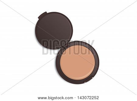Makeup powder nude color in white powder case which opened isolated on white background.