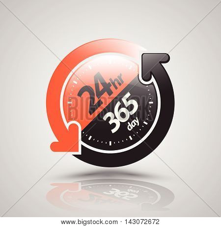 24hr 365 day with two circle arrow icon. vector illustration.