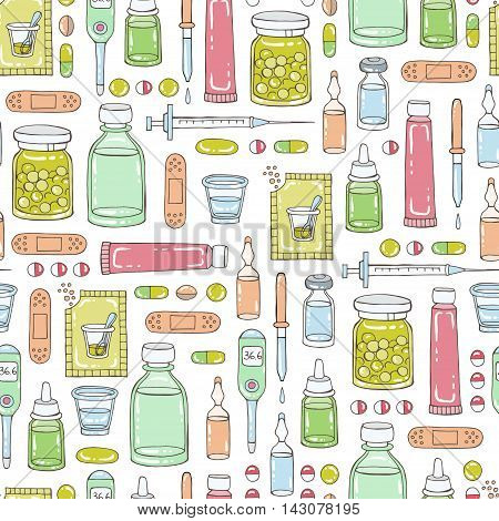 Vector seamless hand drawn pattern on the theme of pharmacy medicine health. Background for use in design, packing, textile, fabrics