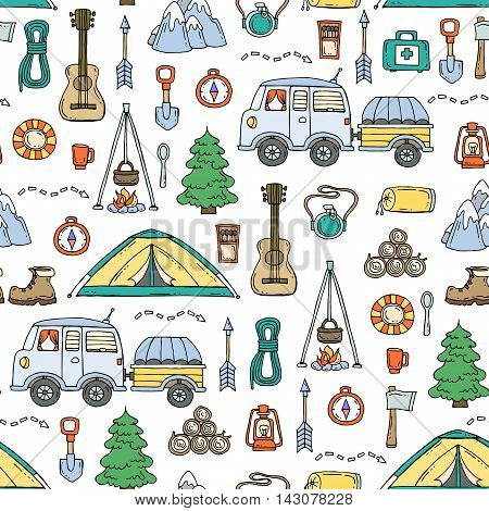 Vector seamless pattern with hand drawn isolated symbols of tourism. Pattern on the theme of travel. Background for use in design, packing, textile, fabrics