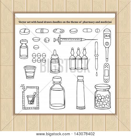 Vector set with hand drawn doodles on the theme of pharmacy and medicine. Sketches for use in design, web site, packing, textile, fabric
