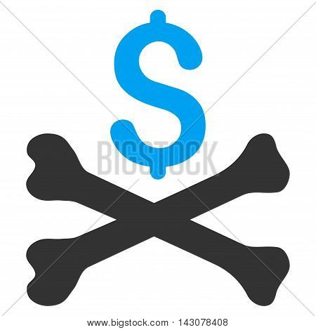 Mortal Debt icon. Glyph style is bicolor flat iconic symbol with rounded angles, blue and gray colors, white background.