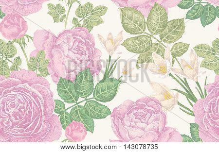 Vintage vector seamless pattern. Illustration with roses and spring flowers on a white background. Floral design.
