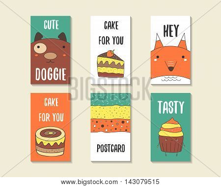 Cute doodle birthday party baby shower cards brochures invitations with dog fox cake cupcake abstract elements. Cartoon objects animals background Printable templates set