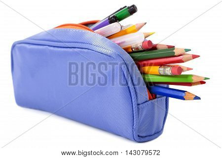 Pencil case filled with pens and pencils isolated on white background