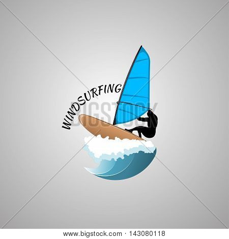 windsurfing logo Isolated on white background. vector illustration