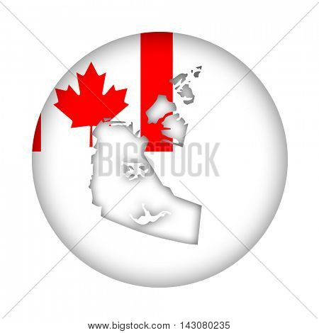 Canada state of Northwest Territories map flag button isolated on a white background.