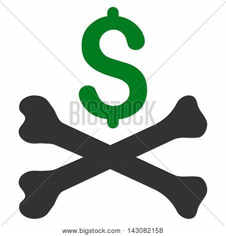 Mortal Debt icon. Vector style is bicolor flat iconic symbol with rounded angles, green and gray colors, white background.