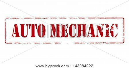 Rubber stamp with text auto mechanic inside vector illustration
