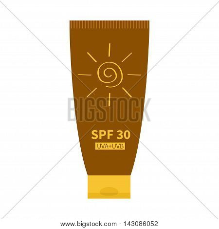 Tube of sunscreen suntan cream. After sun lotion. Bottle dispenser. Solar defence. Spiral sun sign symbol icon. SPF 30 sun protection factor. UVA UVB sunscreen. Isolated. White background. Flat Vector