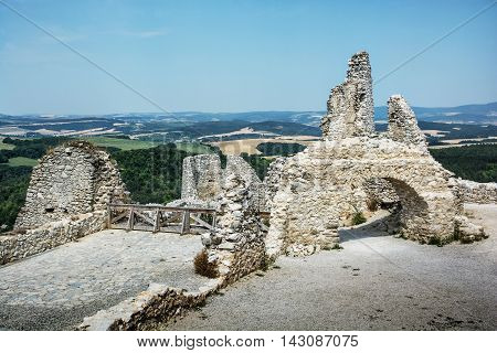 Ruins of the Cachtice castle Slovak republic central Europe. Architectural theme. Seat of bloody countess. Travel destination.